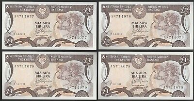 L49 CYPRUS 1 pound 1.2.1992, 4 UNC consecutive notes!