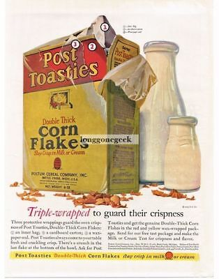 1926 Postum Post Toasties Corn Flakes with Bottles Of Milk art Vtg Print Ad