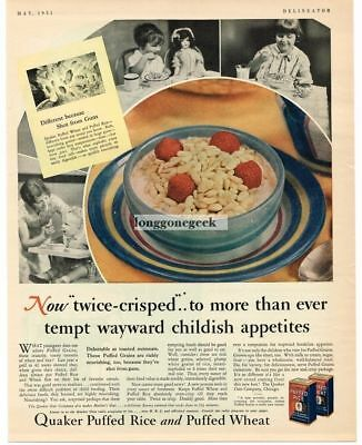 1931 Quaker Puffed Rice Cereal Vtg Print Ad