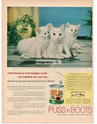 1958 Puss 'n Boots Cat Food Mother Kittens Walter Chandoha Vtg Print Ad