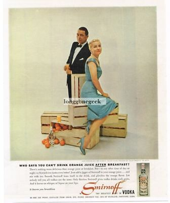 1959 SMIRNOFF Vodka Joan Fontaine Collier Young Crates Of Oranges Vtg Print Ad