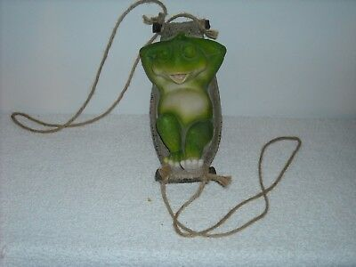 Decorative Resin Frog In A Hanging Basket Weave Hammock Napping Frog CUTE