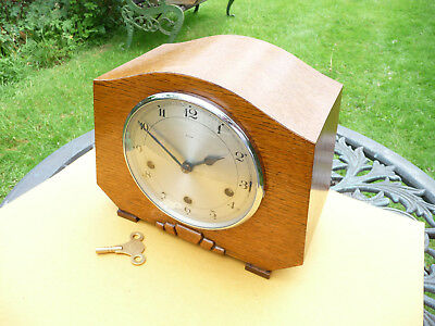 Restored Enfield westminster chime mantle clock with   key. 1940s