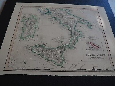 "Antique Map ""South Italy"" John Dower Pentonville, London, circa 1850"