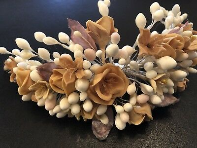 🦋 Antique Vintage Style Bridal wax wedding crown flowers Victorian French?