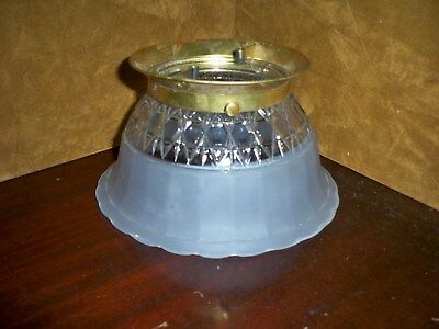 "Vintage Frosted & Clear Glass Gas Light Shade With Brass Fitter Rim 4"" Fitter"