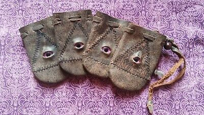 Tiny leather bag pouch drawstring renaissance medieval dice coin Stitched Eye