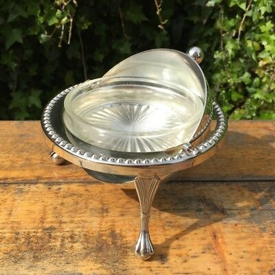 Silver Plated Butter / Caviar Hand Engraved Dish with Glass Liner EPNS English