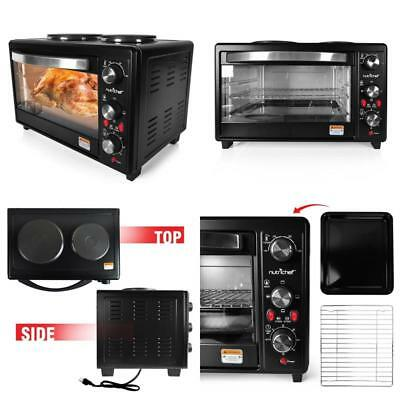Rotisserie Cooker Dual Hot Plates Black Ability To Cook Bake Grill Broil