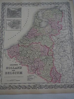Colton's Holland and Belgium-1855 Insets of Amsterdam and Brussels-Free Ship