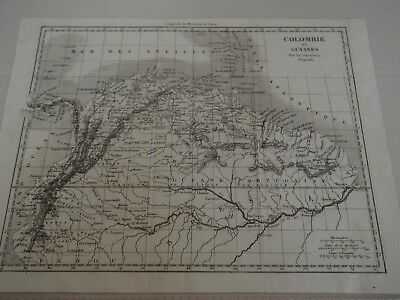"""Antique Map """"Colombie et Guyanes"""" French Version of Colombia and Guiana"""