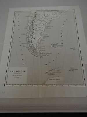 """Antique Map """"Patagonie Tierra del Fuego And Iles Malouines"""" French"""