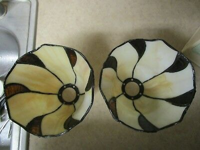 Pair Vintage Slag Glass Lamp Shade Stained Glass  Leaded Carmel Color