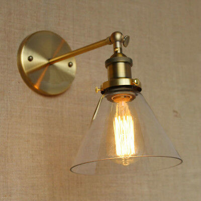 Antique Brass Finished Wall Light Sconce Loft Style Fixture Glass Lamp Shade