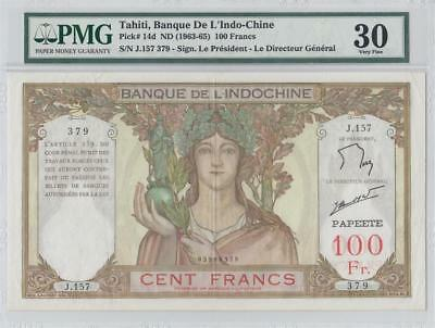 "1963-65 ""tahiti"" French Indochina 100 Francs France **rare** (( Pmg 30 ))"