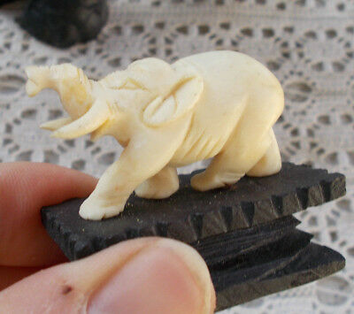 RARE Vintage Bone Elephant Animal Figurine Collectible Oriental & Stand Statue