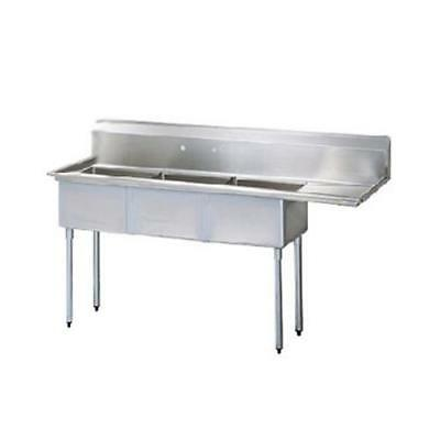 Turbo Air - TSB-3-R2 - 98 1/2 in Three Compartment Sink w/ Right Drainboard