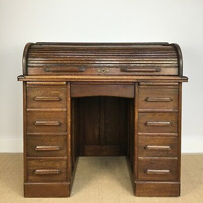Tambour Desk, Oak Pedestal Desk, Vintage Roll Top Desk, Antique Furniture, Deco