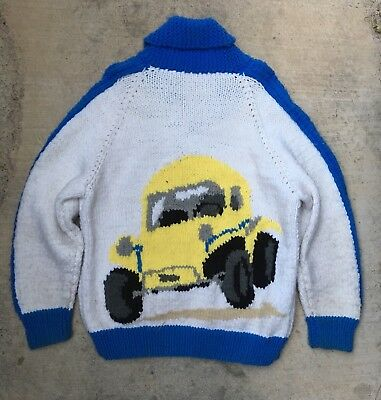 Vtg 50s 60s Cowichan Hand Knit Volkswagen Beetle Sweater Cardigan car hot rod