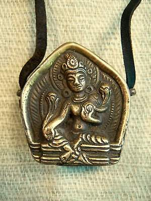 blue Nepal reliquary relicario little tibetan ghau two leather squares