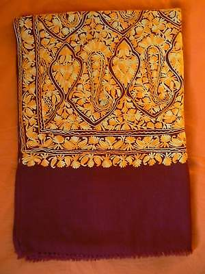 Nepal - handmade embroidered large cotton shawl / chal algodón / xale / scialle