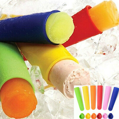 6x Silicone Ice Cream Pole Mold Lollies Maker Push Up Lolly Mould DIY Tool Set