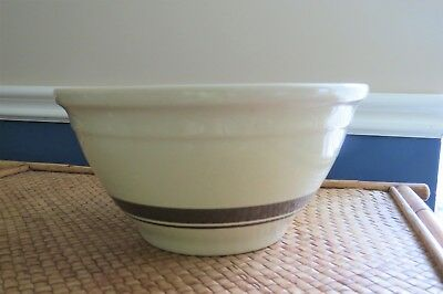 Vintage McCoy Pottery Mixing Bowl Oven Ware 10 inch Brown Stripe USA