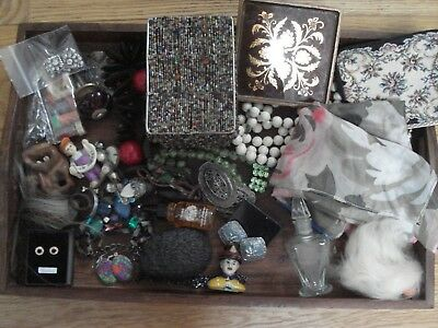 Job lot of all sorts silver earrings vintage purse silk scarf etc 30 items