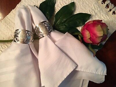 English Sterling Silver 1 Pair Of Napkin Rings Scottish Thistles Marked G.H