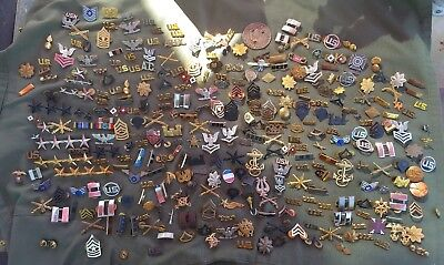 MASSIVE LOT WWII Korea Vietnam US Army navy Air Force USMC insignia collar pins