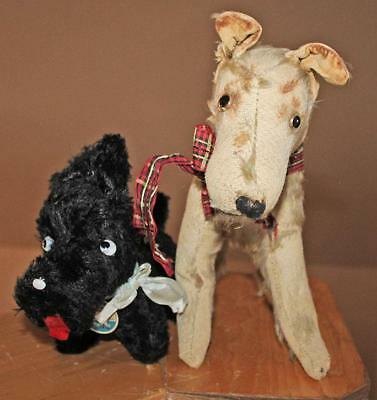 2 Vintage CUTE!! 1920s Glass Eyed Squeekie Straw Stuffed Scotty Dogs COOL!