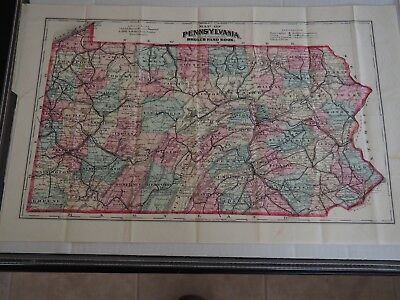 """Antique """"Map of Pennsylvania Prepared expressly for Smull's Hand Book""""-Hart"""