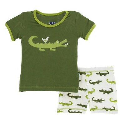 Kickee Pants Crocodile Pajama Set with Shorts 4t - NWT