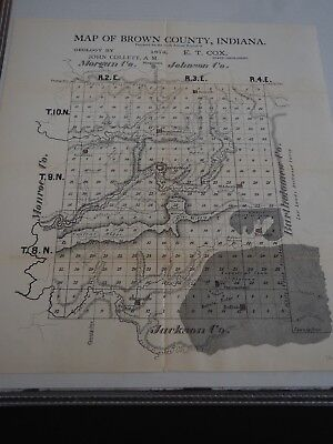 """Antique Map """"Map of Brown County Indiana"""" 1874"""