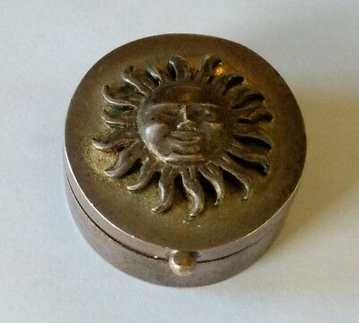 Vintage Mexico Sterling Sun Pill Box