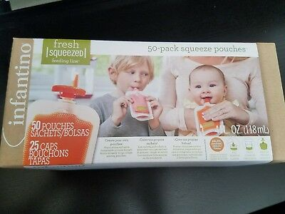 Infantino Fresh Squeezed 50-Pack Squeeze Disposable Pouches New Factory Sealed