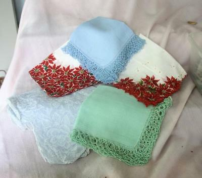 Lot of 5 Ladies Hankies - Various Sizes and Colors