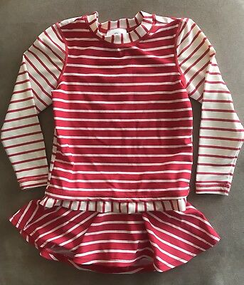 Hanna Andersson Red Striped Rash Guard And Swim Suit Skirt Size 100