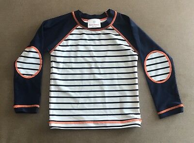 Hanna Andersson Blue And White Striped Rash Guard Size 90