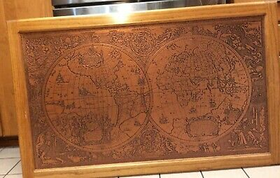Large World Map In Copper According To Hendrik Hondius