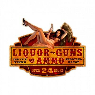 "Greg Hildebrandt Art "" Liquor Guns Ammo "" Drive Thru Metal Sign Garage Man Cave"