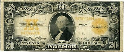 Genuine Series of 1922 $20 Lg Size Gold Certificate, VG/F Details!
