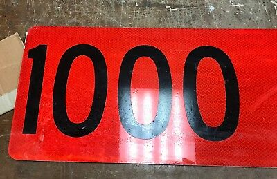 Road Sign  1000 ft Fluorescent Vinyl With Aluminum Road Sign 24 X9
