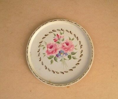 "vintage ivory 11"" round toleware tray with pink hand-painted flowers"