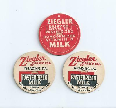 "Three different ""Ziegler Dairy Co.""  Reading, Pa.  milk bottle caps."