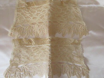 "Victorian Era Beautiful Set Of Lace Cuffs Unused 3 Diff. Lace 9""top 10""bottom"