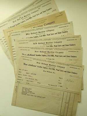 (10)  NEW HOLLAND MACHINE COMPANY PARTS INVOICES 1915/16 Random selection.