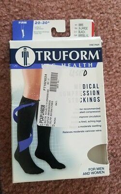 TruForm Leg Health Below the Knee Stockings Black Firm 20-30 mmHg Closed toe -XL