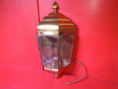 Aged Brass Carriage Lantern Etched Beveled Glass Hand Solder Fast Free Shipping