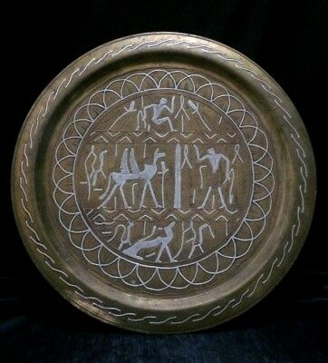 EGYPTIAN ANTIQUE BRASS TRAY Large ENGRAVED Old COPPER SILVER ANCIENT 1900-1940